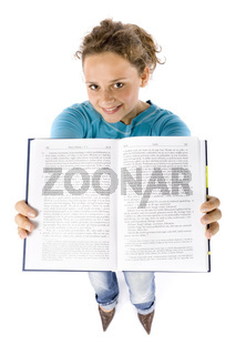 headshot of young woman with book