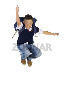 Jumping with thumb up