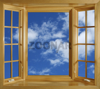 Fenster, The wooden window and blue sky