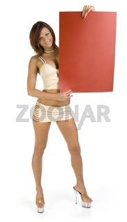Sexy woman with red board