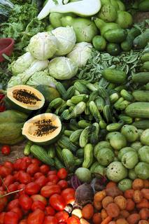 Gemüse auf einem asiatischen Markt, Vietnam