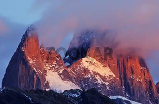 sunrise, sonnenaufgang, cerro chalten, los glaciare np, patagonia, andes, argentinia, monte fitz roy, anden, patagonien, argentinien
