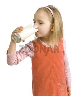 Girl is drinking milk