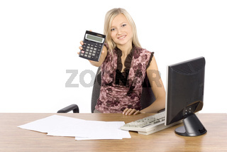young blonde woman with in the office with calculator