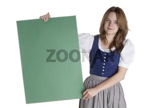 Frau mit Tafel   woman with empty poster