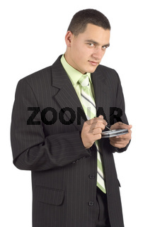 businessman with palmtop / mobile - writting