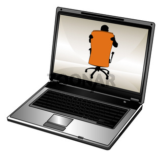 Humorous silhouette of businessman and laptop