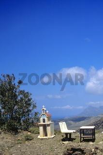 Kirchenmodel an Rastplatz, Kreta, Griechenland