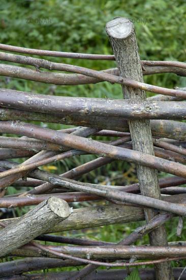 Photo Flechtzaun Zaun Aus Geflochtenen Asten Wattle Fence Image