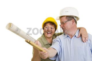 Ehepaar beim Hausbau
