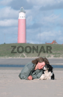 Woman and Mixed Breed Dog / Frau und Mischlingshund