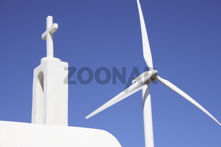 griechische Kapelle mit Windfluegler, Kreta,