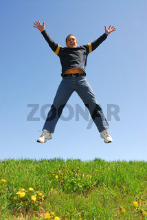 Man jumping happy