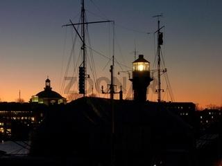 Sonnenuntergang Leuchtturm Stockholm