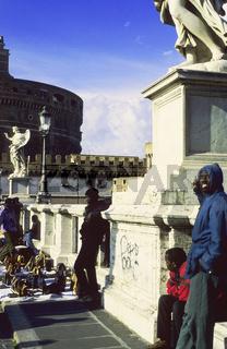 Michelangelo bridge Rome, Street vendors selling handbags on sidewalk