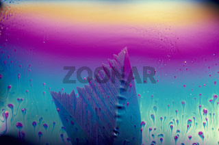 Kristallwachstum beim Eingefrieren einer Seifenblase/Seifenmembran mit faszinierenden Makrolandschaften in Interferenzfarben