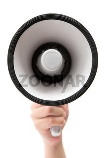 Megaphon in der Hand