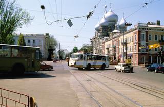 Ukraine, Odessa, vehicles on busy street
