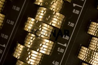 Euromünzen in einer Münzschublade