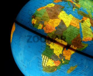 Leuchtender Globus mit Afrika