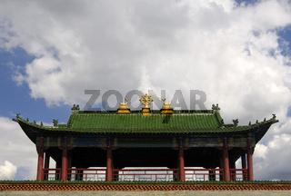 Buddhistische Symbole auf dem Dach, Mongolei