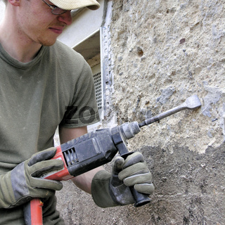 Bauarbeiter mit Boschhammer Symbolfoto
