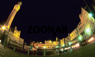 Piazza del Campo square at night Siena Tuscany Italy, Piazza del Campo, Siena, (low angle view)