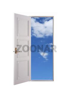 Weisse Tuer   White open door and blue sky