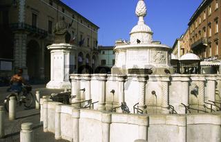 Old town Rimini Italy, Fountain on city square, Rimini
