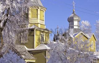 russisch-orthodoxe holzkirche, russian-orthodox church, winter, Narew, polen, poland, polen, ostpolen