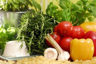 Nudeln, Kräuter, Gemüse, Noodles, Herbs