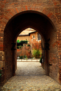 Courtyard of Cathedral of Ste-Cecile in Albi France