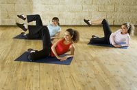 Young women exercising on mat