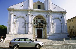 Rimini old town Italy, White church in Rimini