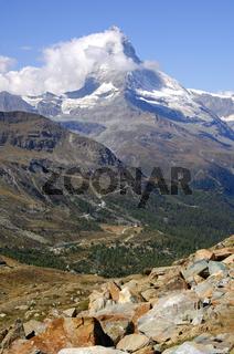 Matterhorn in den Wolken, Schweiz