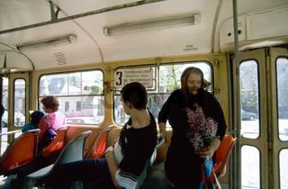 Ukraine, Odessa, passengers in tram