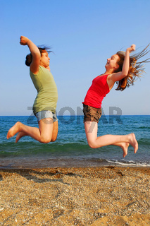 Girls jumping