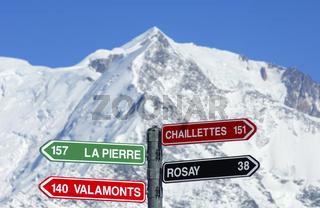 Am Kreuzweg im Skigebiet St. Gervais-Mont Blanc