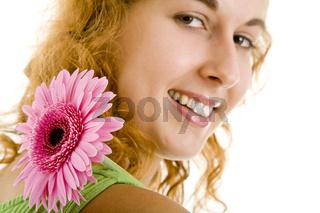 Blume über Schulter