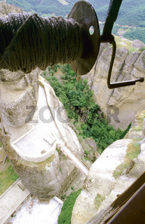 Hoist in monastery, Thessaly, Meteora, Greece, close-up