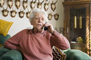 Im Wohnzimmer telefonieren