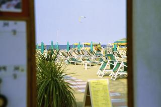 Rimini beach Emilia Romagna Italy, Deckchairs on beach