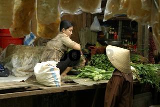 Marktgespräch, Ho Chi Minh Stadt Vietnam