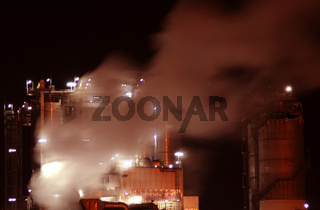 industry with fire at night