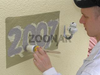 Fassadenbeschriftung Baufoto Malerhandwerk