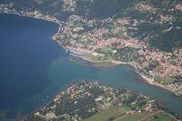 Mera river flowing in Como lake