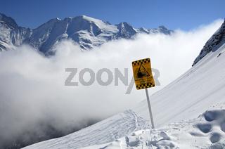Lawinenwarnschild, französische Alpen