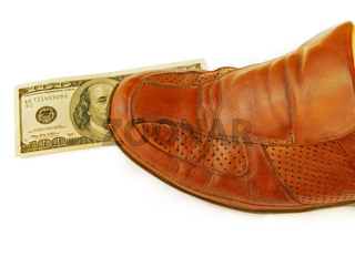 Stepping on United States (US) dollars