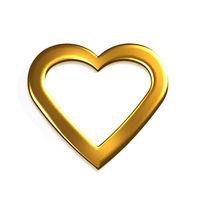 Golden Heart. 3D Render Illustration