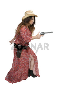 Cowgirl with relvolver